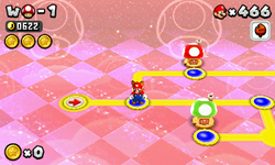 Mario in the World Mushroom map with Triple-crown lives.