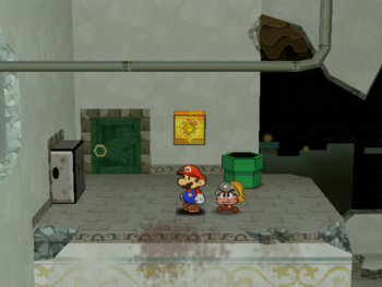 Mario next to the Shine Sprite to the left of the west entrance of Rogueport Sewers in Paper Mario: The Thousand-Year Door.