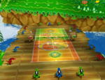 An overhead view of DK Jungle Court from Mario Power Tennis