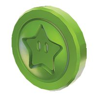 A Green Star Coin from Super Mario 3D World.