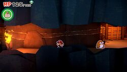 Mario inside Breezy Tunnel in Paper Mario: The Origami King