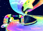 The icon for Rainbow Road, from Mario Kart Double Dash!!.