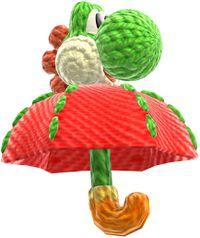 Umbrella Yoshi in Yoshi's Woolly World