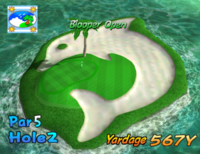 The second hole of Blooper Bay from Mario Golf: Toadstool Tour.