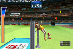 Princess Daisy participating in the High Jump event in the Wii version of Mario & Sonic at the Olympic Games.