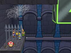 Mario and Koops find Koopook in Hooktail Castle.