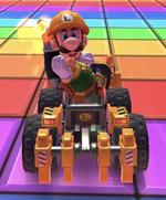 Builder Luigi performing a trick.