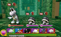 Screenshot of World 7-Tower 2, from Puzzle & Dragons: Super Mario Bros. Edition.