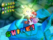 Yoshi and Mario collect a Shine Sprite.