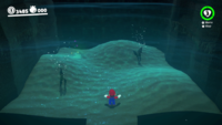 The flooded cave with a moving mound in Super Mario Odyssey