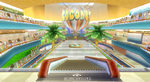View of Coconut Mall in Mario Kart Wii.