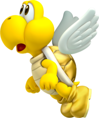 Artwork of a Golden Koopa Paratroopa from New Super Mario Bros. 2