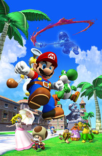 Super Mario Sunshine promotional artwork: A scene inside Delfino Plaza with includes Mario along with F.L.U.D.D., Princess Peach, Toadsworth, a Green Yoshi being noticed by Shadow Mario with his paintbrush, and a couple of Nokis and Piantas witnessing in fear