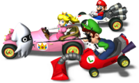 Mario in his B Dasher and Peach driving in her Royale next to Luigi in his Poltergust 4000 who is being squirted by a Blooper