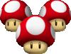 Artwork of Triple Mushrooms from Mario Kart Wii.