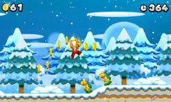 Mario wearing a Golden Block in World 4-2.