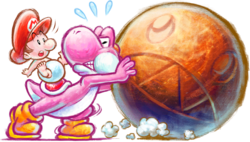 Artwork of Pink Yoshi pushing a Chomp Rock, from Yoshi's New Island.