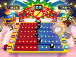 Donkey Kong and Wario explode in Revers-a-Bomb from Mario Party 4
