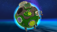 "A screenshot of Gateway Galaxy during the ""Grand Star Rescue"" mission from Super Mario Galaxy."