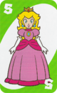 The Green Five card from the UNO Super Mario deck (featuring Princess Peach)