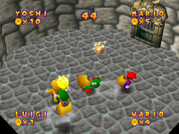 Grab Bag: A variety of players snatching each other's Coins - with a snapshot of two players snatching a Coin, and a Coin Bag at the same time. From Mario Party.