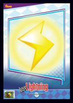 The Lightning card from the Mario Kart Wii trading cards