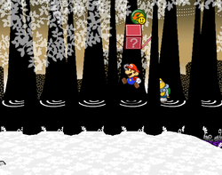 Screenshot of Mario revealing a hidden? Block (containing a P-Down, D-Up P badge) in Boggly Woods, in Paper Mario: The Thousand-Year Door.