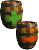Artwork of Plus and Minus Barrels from Donkey Kong Country 2: Diddy's Kong Quest