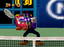 Waluigi and his glowing eyes from the Nintendo 64 game: Mario Tennis.