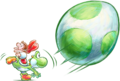Baby Yoshi and Mario Artwork (alt) - Yoshi's New Island.png