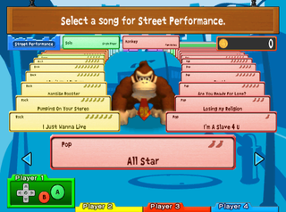 The song selection in the Street Performance option of the European Donkey Konga 2.