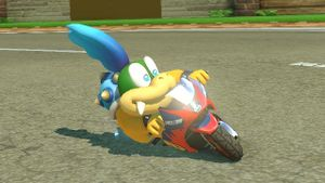 Larry Koopa, committing to the turn on his Sport Bike.