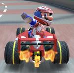Mario (Racing) performing a trick.
