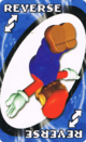The Blue Reverse card from the Nintendo UNO deck (featuring Mario)