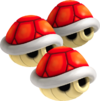 Artwork of Triple Red Shells, from Mario Kart Wii.