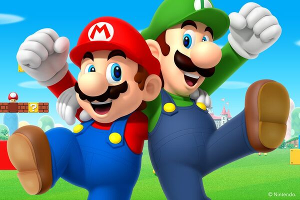 Preview for a Mario and Luigi wallpaper which celebrates Siblings Day