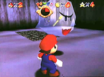 Pre-release screenshot of Super Mario 64, where Mario sees a Key inside of a Big Boo.