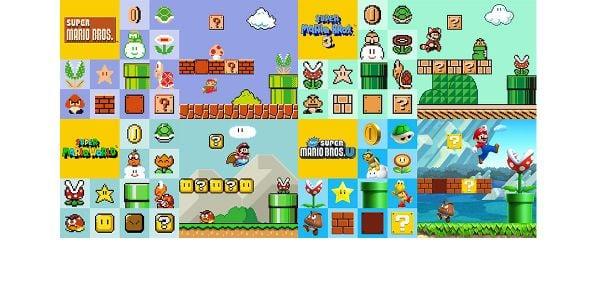 Banner for a Play Nintendo opinion poll on Super Mario Maker for Nintendo 3DS game styles. Original filename: <tt>2x1_SMM3DSPoll01CoolestCourse_v02.0290fa98.jpg</tt>