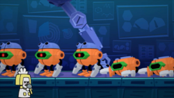 Flatterbots being created in Dr. Crygor's Top Secret Factory