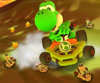 The icon of the Peachette Cup challenge from the 2020 Halloween Tour and the Yoshi Cup challenge from the Bowser vs. DK Tour in Mario Kart Tour