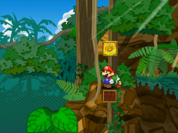 Mario next to the Shine Sprite to the left of the piranha room of Keelhaul Key in Paper Mario: The Thousand-Year Door.