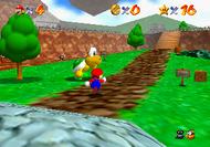 Mario running past Koopa the Quick in Bob-omb Battlefield.