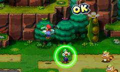Screenshot of the Splash Bros. Bros. Attack in Mario & Luigi: Superstar Saga + Bowser's Minions