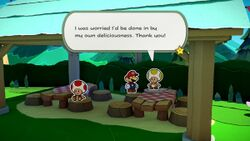 A Toad saved from being folded into an egg in Paper Mario: The Origami King. The seventh hidden Toad in Whispering Woods.