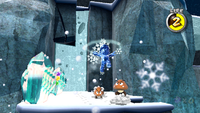 Ice Mario in Freezeflame Galaxy of Super Mario Galaxy