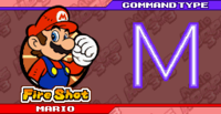 Mario and his special shot shown in the practice special shot selection screen.