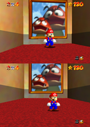 Mario facing the paintings to Tiny-Huge Island