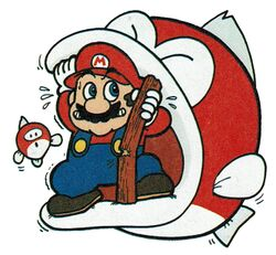 Artwork of Mario escaping from a Boss Bass with a Baby Cheep