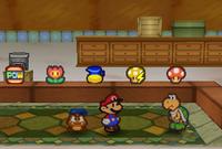 Image of Mario and Goombario in Koopa's Shop in Koopa Village, in Paper Mario.
