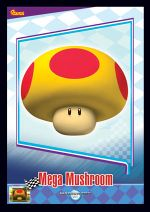 The Mega Mushroom card from the Mario Kart Wii trading cards